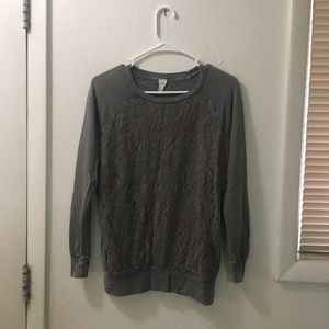Brown Lace Long-Sleeve Tee